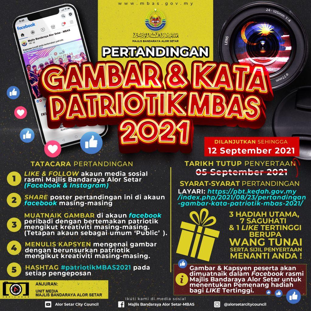 Tarikh Tutup Pertandingan Gambar & Kata Patriotik MBAS 2021 Dilanjutkan.
